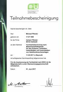 Zertifikat Heizölverbraucheranlagen
