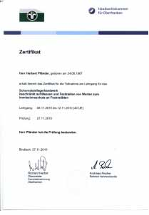 Zertifikat Schornsteinfegerhandwerk