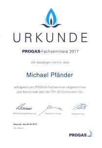 Zertifikat PROGAS-Fachseminar