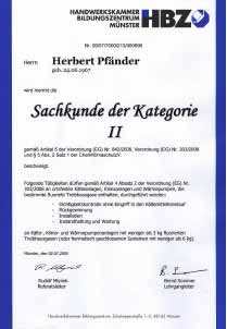 Zertifikat Sachkunde Kat II