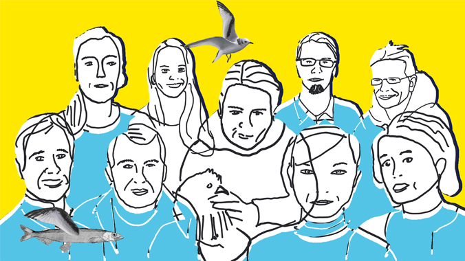 A drawing of a group of nine science team members and a chicken atop a plain yellow background. There is a gull at the top of the image and a flying fish at the bottom.