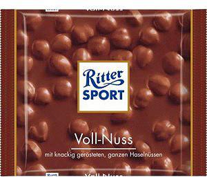 Шоколад Ritter sport молочний з цілими лісовими горіхами