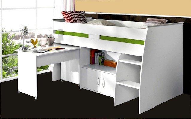 Hochbett mit Schrank und Schreibtisch