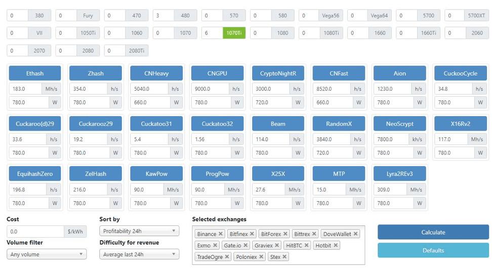 Калькулятор майнинга на видеокартах (GPU)