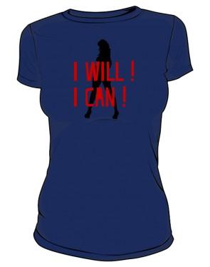 koszulka I will I can granatowa