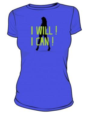 koszulka I will I can niebieska