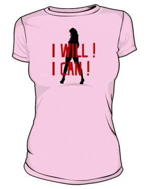 koszulka I will I can różowa