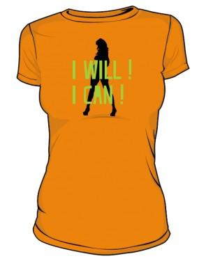 koszulka I will I can pomarańczowa