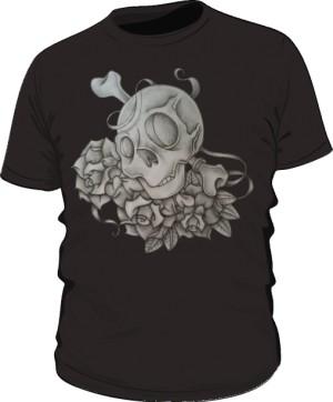 Skull And Rose Black M