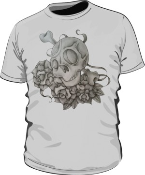 Skull And Rose Grey M