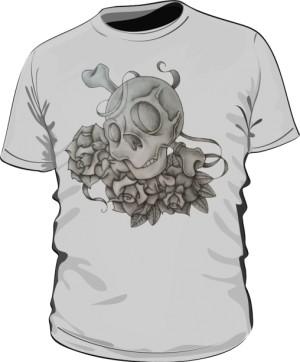 Skull And Rose Grey M