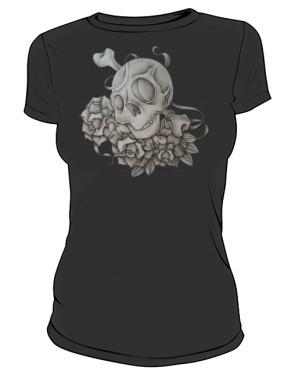 Skull And Rose Black W