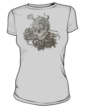 Skull And Rose Grey W
