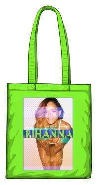 Torba z nadrukiem Rihanna zielona