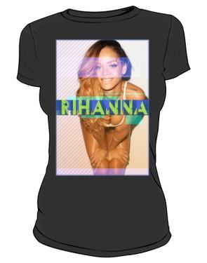 Koszulka z nadrukiem Rihanna czarna