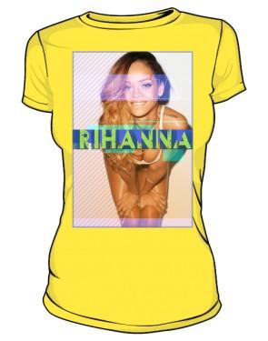Koszulka z nadrukiem Rihanna żółta