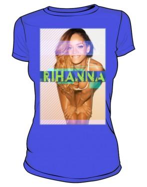 Koszulka z nadrukiem Rihanna niebieska