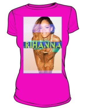 Koszulka z nadrukiem Rihanna różowa