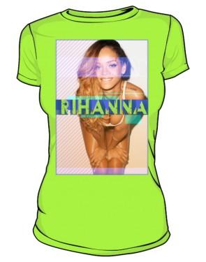 Koszulka z nadrukiem Rihanna zielona