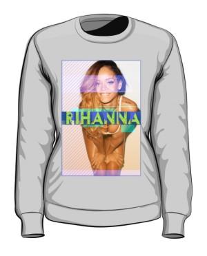 Bluza z nadrukiem Rihanna szara