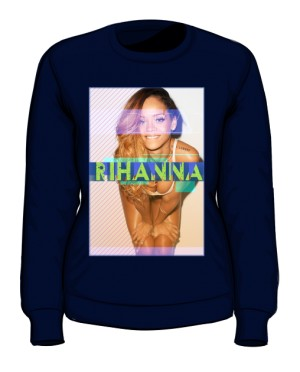 Bluza z nadrukiem Rihanna granatowa