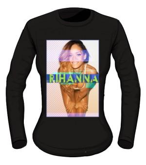 Longsleeve z nadrukiem Rihanna czarny