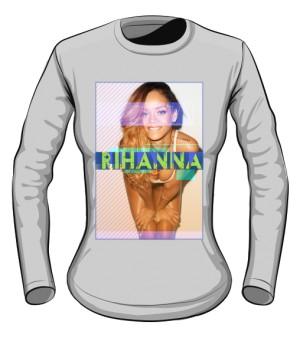 Longsleeve z nadrukiem Rihanna szary