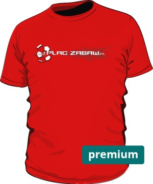 Czerwona koszulka męska premium z logo