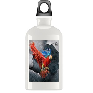 Bidon Czerwona papuga na tle ściany