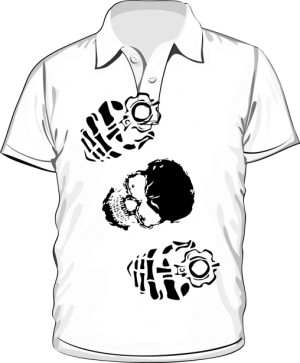 koszulka polo biała nadruk