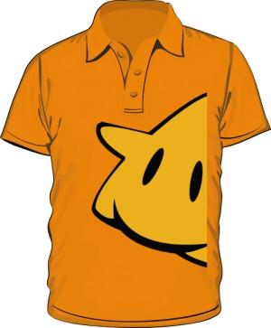 Koszulka polo pomarańczowa nadruk