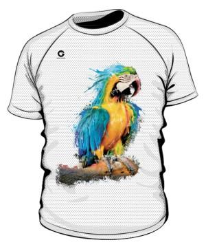 Niebieska Papuga koszulka sportowa