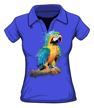 Niebieska Papuga koszulka polo
