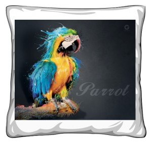 Niebieska Papuga poduszka