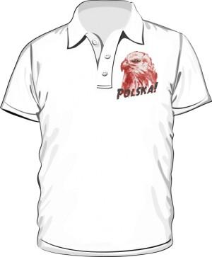 Koszulka polo biała Orzeł polski