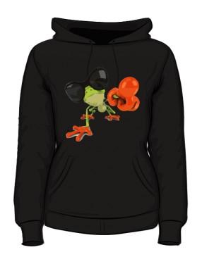 Bluza damska z kapturem czarna Frog