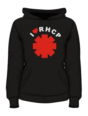 Bluza z kap damska czarna I love RHCP