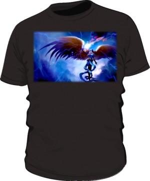 Koszulka czarna męska Anioł w zbroi