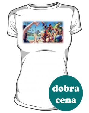 Koszulka biała damska Pool party