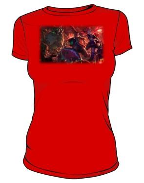 Koszulka czerwona damska Zombie slayer