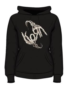 Bluza z kaputerm damska czarna Korn logo