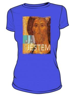 Koszulka JA JESTEM niebieska damska