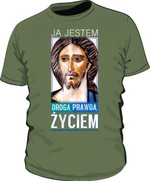 Koszulka JEZUS ŻYCIE khaki męska