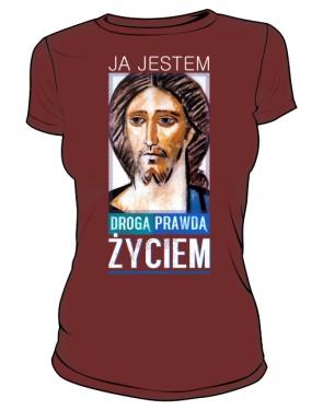 Koszulka JEZUS ŻYCIE brązowa damska