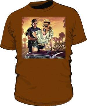 Koszulka brązowa GTA Busted
