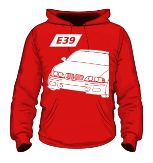 E39 Bluza z Kapturem Czerwona