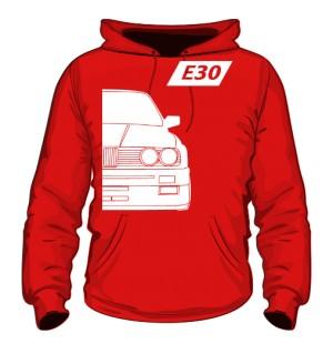 E30 Bluza z Kapturem Czerwona