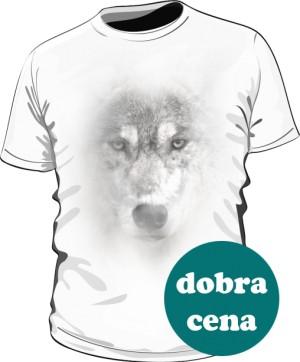 Wilk Grey2 koszulka męska biała