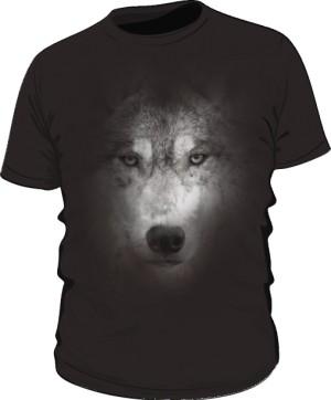 Wilk Grey2 koszulka męska czarna