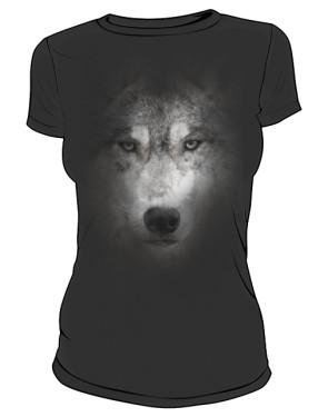 Wilk Grey2 koszulka damska czarna